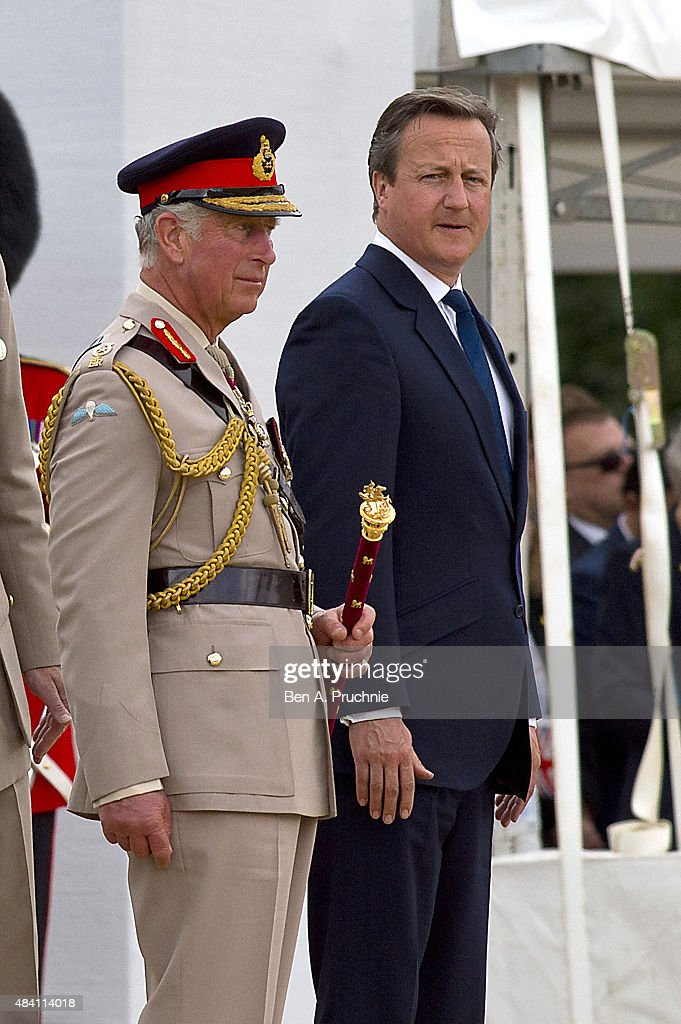 Prince Charles, Prince of Wales and Prime Minister David Cameron attend the Drumhead Service during the 70th Anniversary commemorations of VJ Day (Victory over Japan) on Horse Guards Parade August 15, 2015 in London, England. on August The event marks the 70th anniversary of the surrender of Japanese Forces, bringing about the end of World War II. Queen Elizabeth II and Prince Philip, Duke of Edinburgh will join British Prime Minister David Cameron and former prisoners of war during services throughout the day as tributes are made to the the estimated 71,244 British and Commonwealth casualties of the Far East conflict. Japan formally surrendered on September 2, 1945 at a ceremony in Tokyo Bay on USS Missouri.