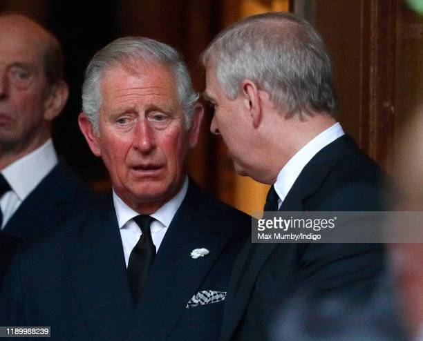 Prince Charles Prince of Wales and Prince Andrew Duke of York attend the funeral of Patricia Knatchbull Countess Mountbatten of Burma at St Paul's...