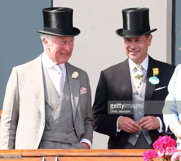Prince Charles, Prince of Wales and Prince Edward, Earl of Wessex during Royal Ascot 2021 at Ascot Racecourse on June 15, 2021 in Ascot, England.