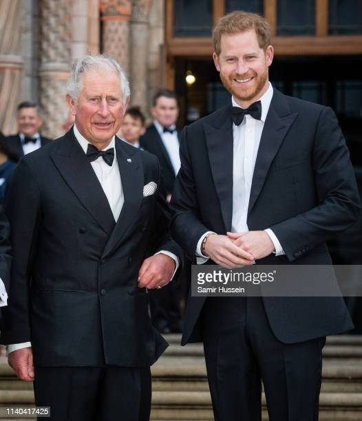 Prince Charles Prince of Wales and Prince Harry Duke of Sussex attend the Our Planet global premiere at Natural History Museum on April 04 2019 in...