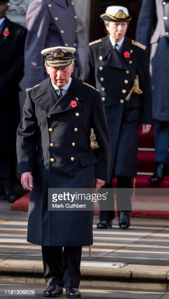 Prince Charles Prince of Wales and Princess Anne Princess Royal attend the annual Remembrance Sunday memorial at The Cenotaph on November 10 2019 in...