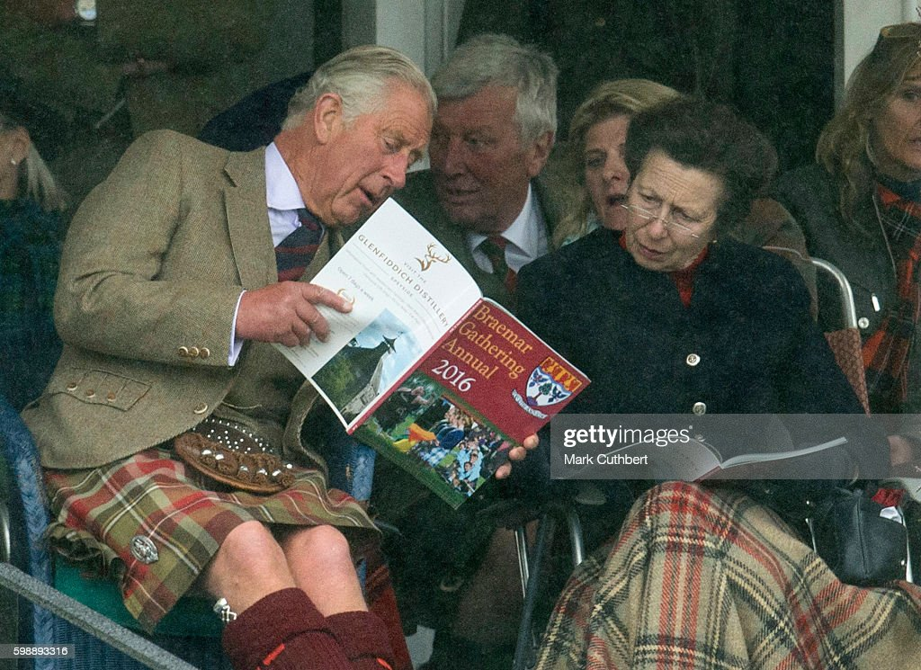 Prince Charles, Prince of Wales and Princess Anne, Princess Royal attend The 2016 Braemar Highland Gathering on September 3, 2016 in Braemar, Scotland.