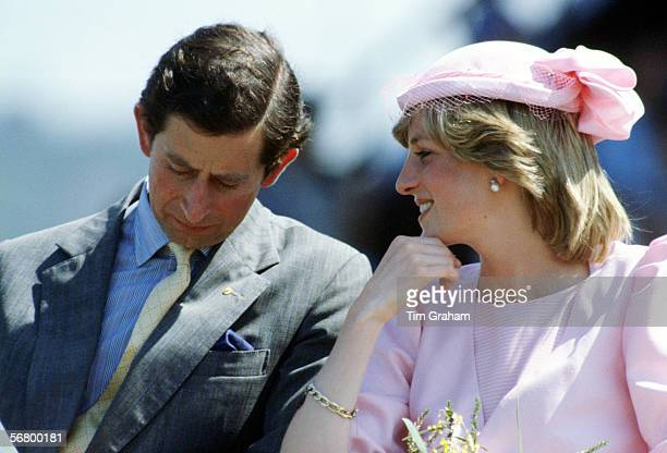 Prince Charles Prince of Wales and Princess Diana Princess of Wales sitting together during their visit to Newcastle in Australia