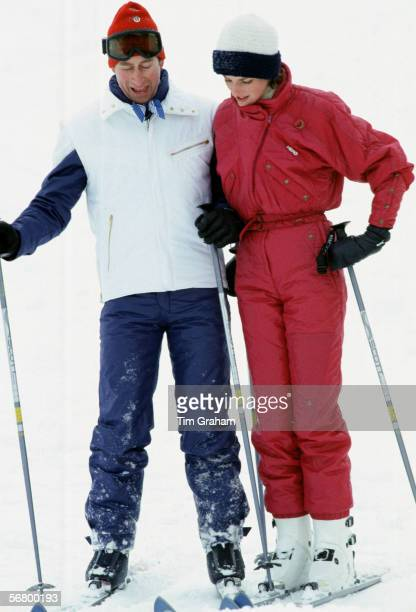 Prince Charles Prince of Wales and Princess Diana Princess of Wales teasing each other during a skiing holiday in Liechtenstein