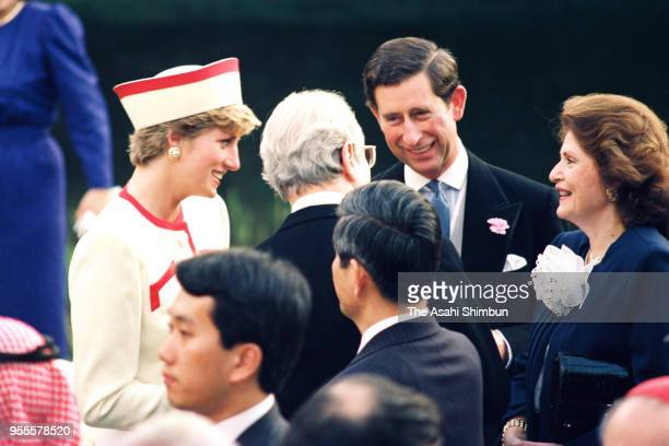 Prince Charles Prince of Wales and Princess Diana Princess of Wales attend the garden party celebrating Emperor Akihito's Enthronement at the Akasaka...