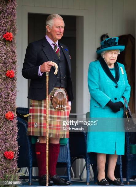 Prince Charles, Prince of Wales and Queen Elizabeth II attend the 2018 Braemar Highland Gathering at The Princess Royal and Duke of Fife Memorial...