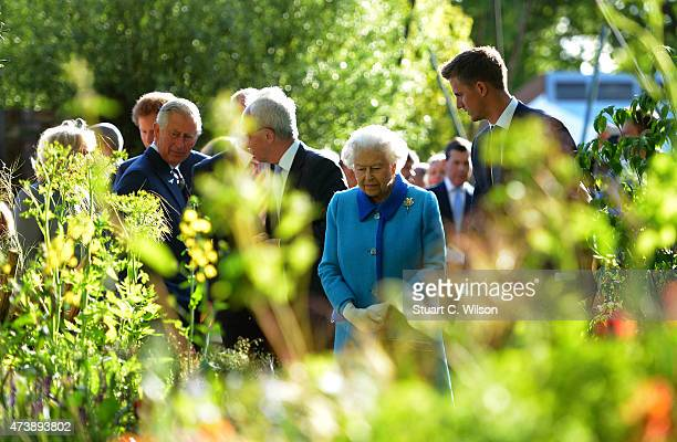 Prince Charles Prince Of Wales and Queen Elizabeth II attend the annual Chelsea Flower show at Royal Hospital Chelsea on May 18 2015 in London England