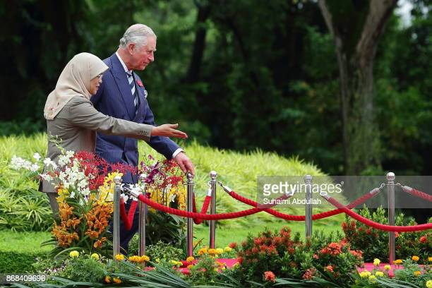Prince Charles Prince of Wales and Singapore President Halimah Yacob arrive at the welcome ceremony at the Istana on October 31 2017 in Singapore...