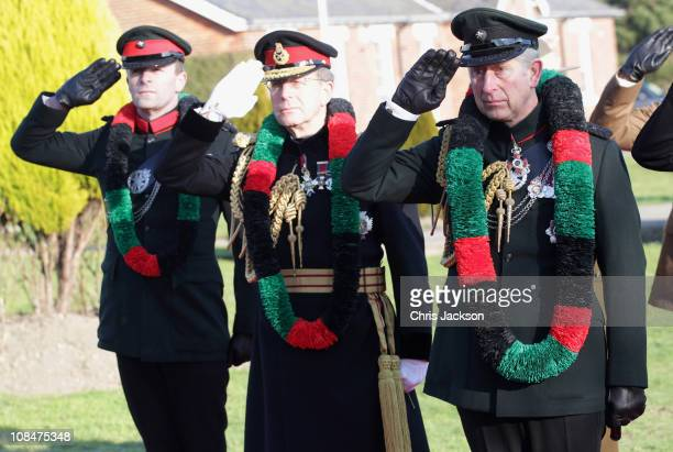 Prince Charles Prince of Wales and Sir David Richards salute after the Prince presented Afghanistan Service Medals to Gurkas at Sir John Moore...