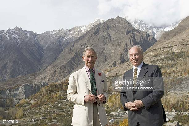 Prince Charles Prince of Wales and the Aga Khan visit a mountain village on November 3 2006 in Skardu Pakistan
