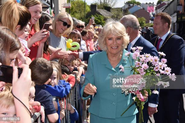 Prince Charles Prince of Wales and the Camilla Duchess of Cornwall visit the village market on May 10 2017 in Dromore Northern Ireland Their Royal...