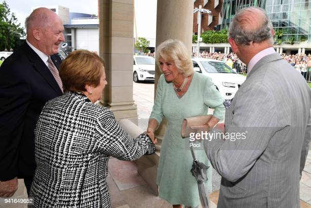 Prince Charles Prince of Wales and the Camilla Duchess of Cornwall are greeted by the GovernorGeneral Sir Peter Cosgrove and his wife Lynne Cosgrove...