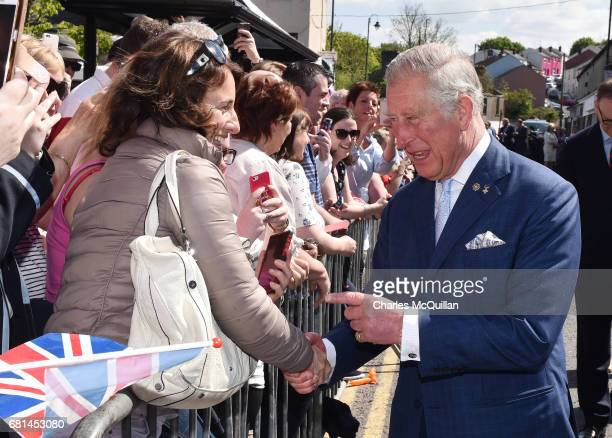 Prince Charles Prince of Wales and the Duchess of Cornwall visit the village market on May 10 2017 in Dromore Northern Ireland Their Royal Highnesses...