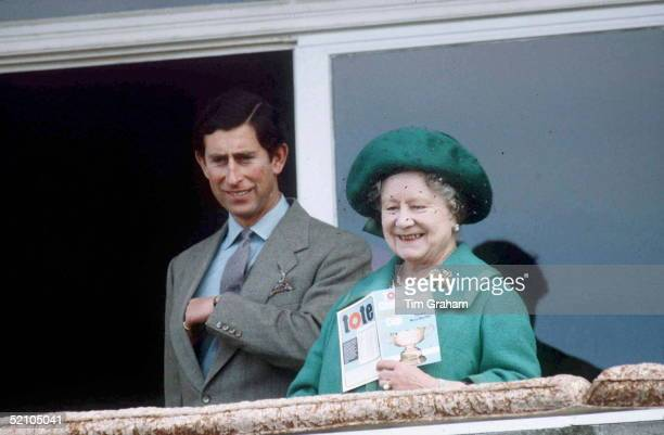 Prince Charles [ Prince Of Wales ] And The Queen Mother Together Watching The Racing During The National Hunt Festival At Cheltenham The Queen Mother...