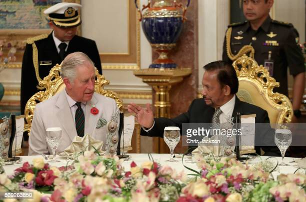 Prince Charles Prince of Wales and the Sultan of Brunei attend a high tea at the Sultan of Brunei's Palace on November 2 2017 in Bandar Seri Begawan...