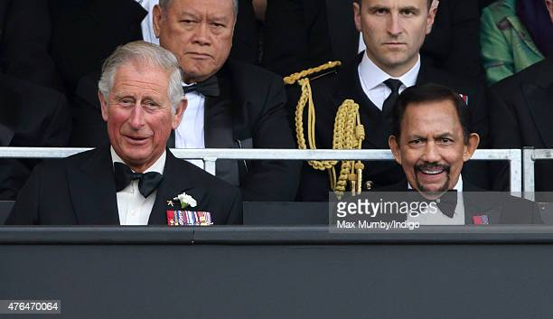 Prince Charles Prince of Wales and The Sultan of Brunei Hassanal Bolkiah attend the Gurkha 200 Pageant at the Royal Hospital Chelsea on June 9 2015...