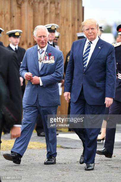 Prince Charles Prince of Wales and US President Donald Trump attend a function during the Dday 75 Commemorations on June 05 2019 in Portsmouth...