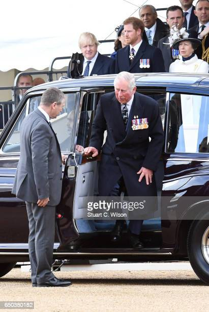 Prince Charles Prince of Wales arrives as Boris Johnson Prince Harry and Princess Anne the Princess Royal attend the dedication service of The Iraq...
