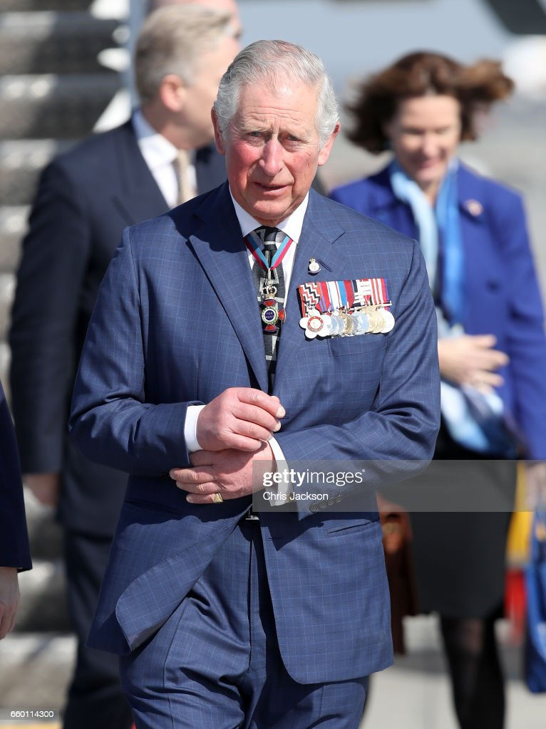 Prince Charles, Prince of Wales arrives at Otopeni International Airport during day one of his visit to Romania on March 29, 2017 in Bucharest, Romania.