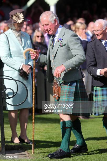 Prince Charles Prince of Wales arrives at the 2019 Braemar Highland Games at The Princess Royal and Duke of Fife Memorial Park on September 07 2019...