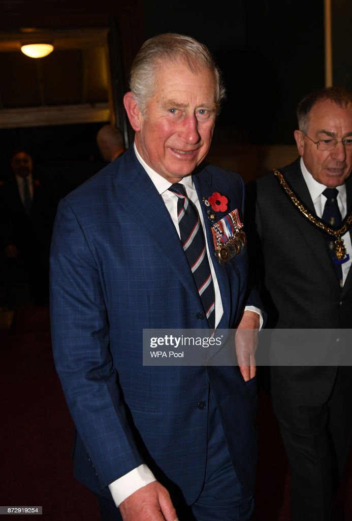 Prince Charles, Prince of Wales arrives at the annual Royal Festival of Remembrance to commemorate all those who have lost their lives in conflicts at the Royal Albert Hall on November 11, 2017 in London, England.
