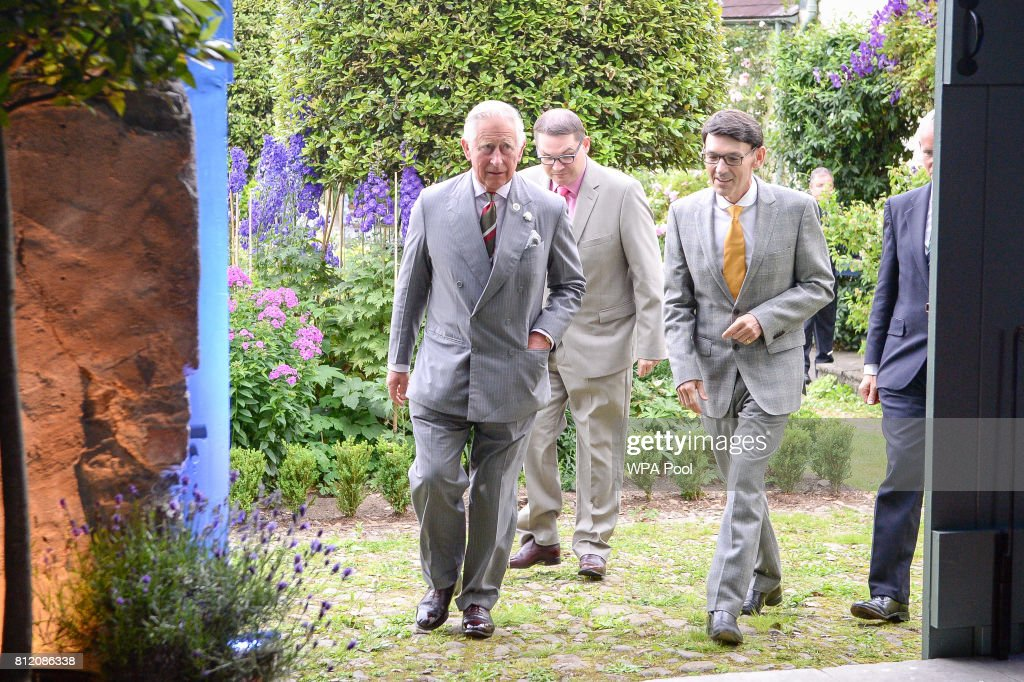 Prince Charles, Prince of Wales arrives at the barn where he is hosting a music & drama evening, featuring performances by Michael Sheen and Owen Teale, as well as students of the Royal Welsh College of Music and Drama at his Welsh home near Llandovery on July 10, 2017 in Ceredigion, Wales.
