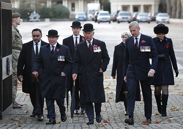 Prince Charles Prince of Wales arrives at the Guards' Chapel in Wellington Barracks to lay a wreath at the Guards' Memorial for the Welsh Guards'...