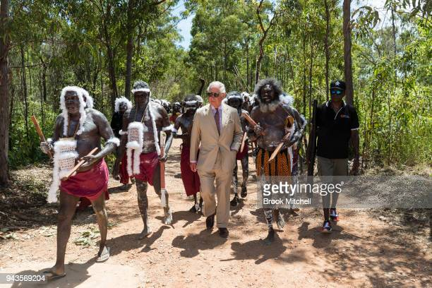 Prince Charles Prince of Wales arrives for a traditional Welcome to Country Ceremony on April 9 2018 in Gove Australia The Prince of Wales and...