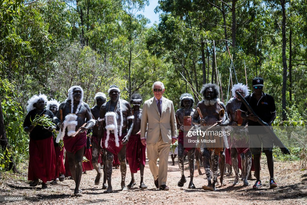 Prince Charles, Prince of Wales arrives for a Welcome to Country Ceremony (Rirratjingu Bunggu) at Mt Nhulun on April 9, 2018 in Gove, Arnhem Land, Australia. The Prince of Wales and Duchess of Cornwall are on a seven-day tour of Australia, visiting Queensland and the Northern Territory.