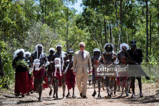 Prince Charles Prince of Wales arrives for a Welcome to Country Ceremony at Mt Nhulun on April 9 2018 in Gove Arnhem Land Australia The Prince of...