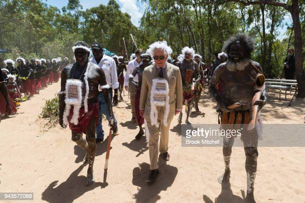 Prince Charles Prince of Wales arrives for a Welcome to Country Ceremony on April 9 2018 in Gove Australia Prince Charles Prince of Wales and Duchess...