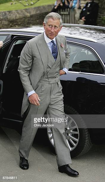 Prince Charles Prince of Wales arrives for Laura Parker Bowles wedding to Harry Lopes at St Cyriac's Church Lacock on May 6 2006 in Wiltshire England...