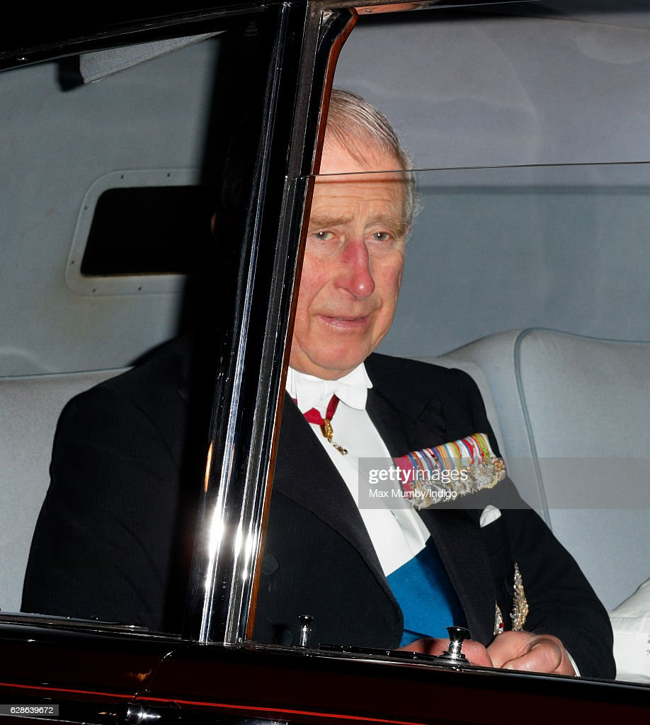 Prince Charles, Prince of Wales arrives for the annual Diplomatic Reception at Buckingham Palace on December 8, 2016 in London, England.