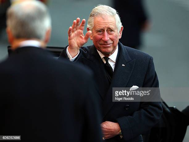 Prince Charles Prince of Wales arrives for the memorial service of The Duke of Westminster at Chester Cathedral on November 28 2016 in Chester...