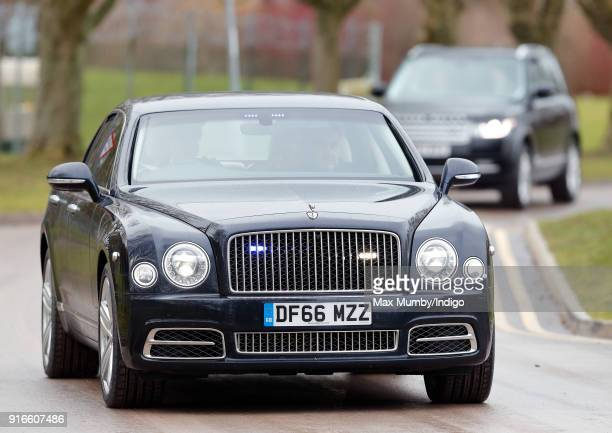 Prince Charles Prince of Wales arrives in his Bentley car for a visit to Bulford Camp on February 9 2018 in Salisbury England The Prince of Wales...