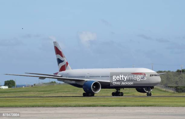 Prince Charles Prince of Wales arrives on a British Airways flight into VC Bird International Airport on November 17 2017 in Antigua Antigua and...