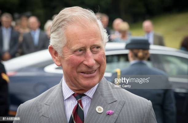 Prince Charles Prince of Wales arrives to take a tour of the gardens at Plas Cadnant Hidden Gardens during The Prince of Wales' annual summer visit...