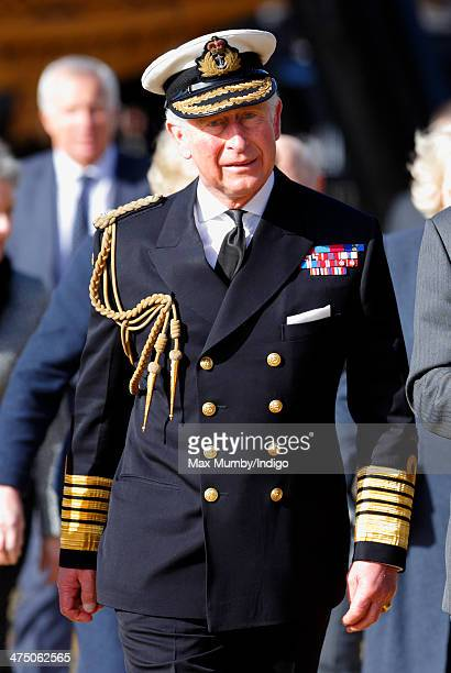 Prince Charles Prince of Wales arrives to tour the new Mary Rose Museum during a day of Naval engagements on February 26 2014 in Portsmouth England