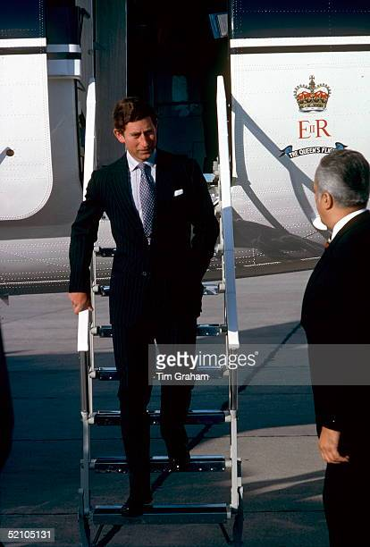 Prince Charles [ Prince Of Wales ] Arriving At Dubrovnik Airport In Yugoslavia He Is Wearing A Blue Suit With A Broad Pinstripe