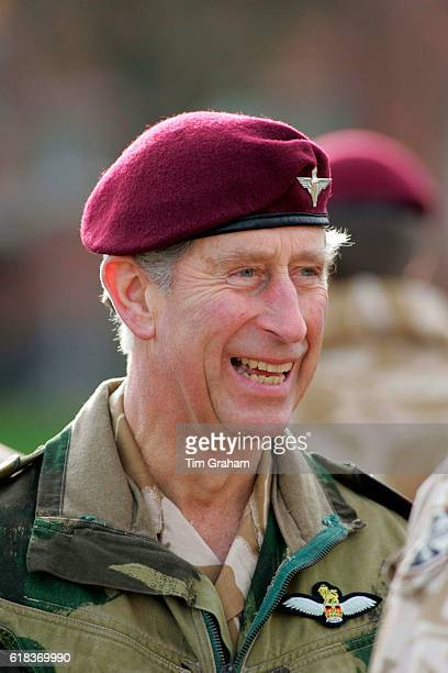 Prince Charles Prince of Wales as Colonel in Chief of the Parachute Regiment visits the 3rd Battalion Parachute Regiment in the Hyderabad Barracks in...
