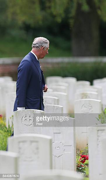 Prince Charles Prince of Wales at Carnoy Military Cemetery where Camilla Duchess of Cornwall laid a wreath at the grave of her Great Uncle Captain...