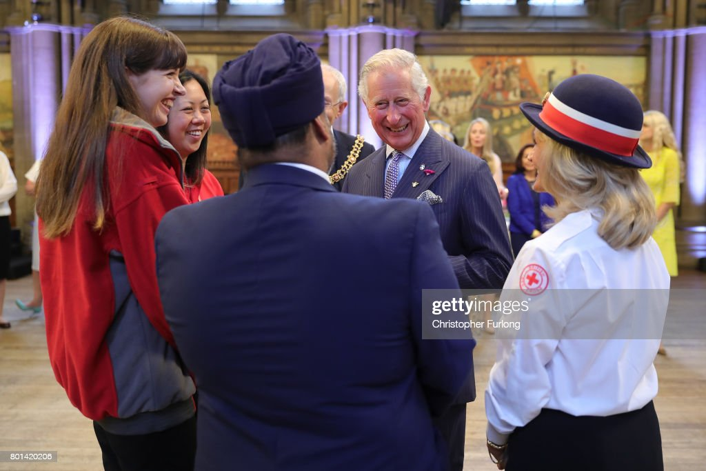 Prince Charles, Prince of Wales attend a reception in Manchester Town Hall to thank those involved during the Manchester Attack on June 26, 2017 in Manchester, England. Earlier in the day the Prince of Wales and the Duchess visited the scene of the suicide attack at the Manchester Arena. During their visit they both wore a Worker Bee badge, the symbol of the City of Manchester, which has now taken on more credence by people as a sign of resilience.