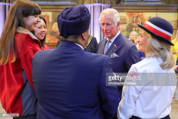 Prince Charles Prince of Wales attend a reception in Manchester Town Hall to thank those involved during the Manchester Attack on June 26 2017 in...