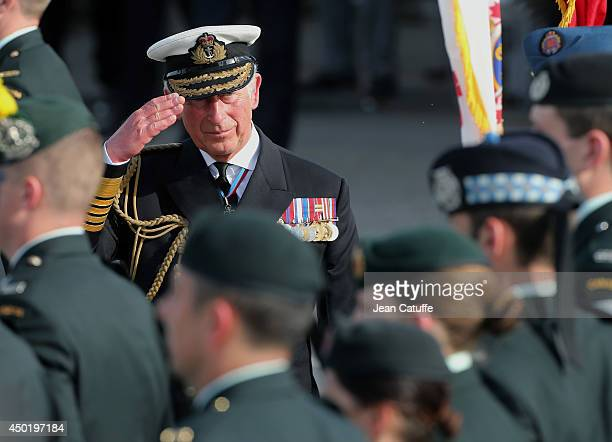 Prince Charles Prince of Wales attends a ceremony to commemorate the Canadian soldiers on the 70th anniversary of DDay on June 6 2014 at Centre Juno...