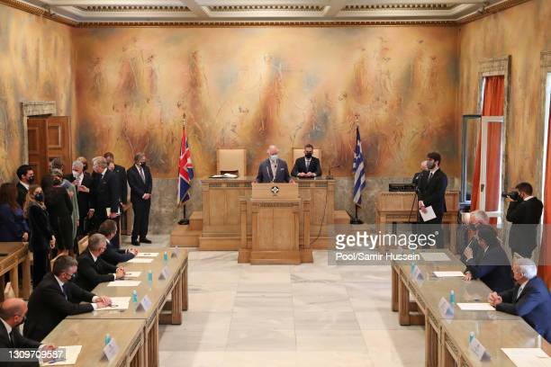 Prince Charles, Prince of Wales attends a meeting with Mayor of Athens, Kostas Bakoyannis and makes a speech in the City Council Chamber on March 25,...