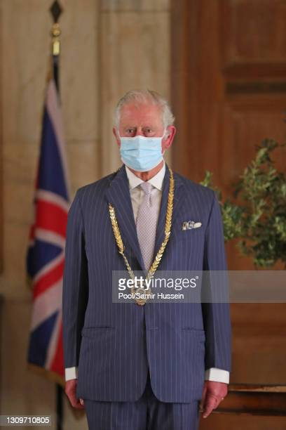 Prince Charles, Prince of Wales attends a meeting with the Mayor of Athens, Kostas Bakoyannis at City Hall on March 25, 2021 in Athens, Greece. The...