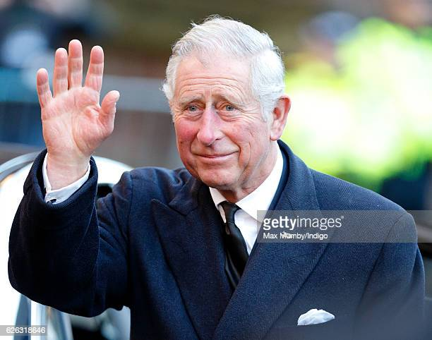 Prince Charles Prince of Wales attends a Memorial Service for Gerald Grosvenor 6th Duke of Westminster at Chester Cathedral on November 28 2016 in...