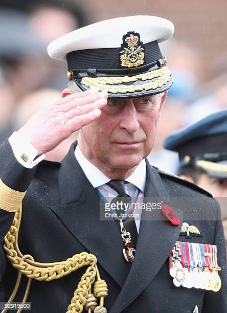 Prince Charles Prince of Wales attends a Navy Centennial Event at Duntza Head HMC Dockyard Esquimalt on November 9 2009 in Victoria Canada The Royal...