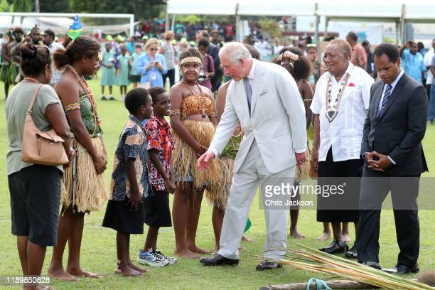 Prince Charles Prince of Wales attends a public ocean event at Lawson Tama Stadium on November 25 2019 in Honiara Guadalcanal Island Solomon Islands...