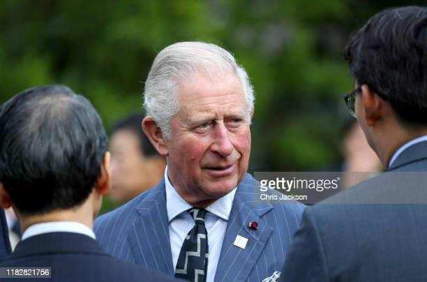 Prince Charles Prince of Wales attends a reception to celebrate UK Japan partnerships hosted by British Ambassador Paul Madden at the Ambassadors...